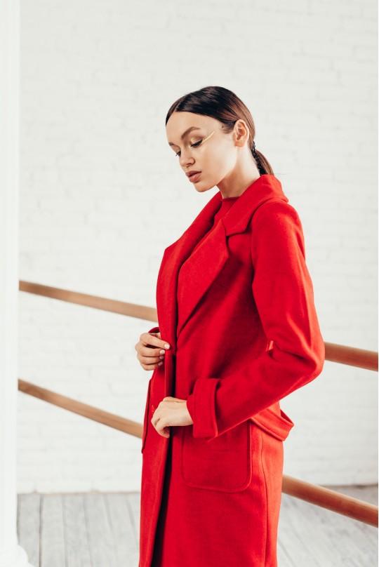 Пальто длинное Valentir с накладными карманами Красное