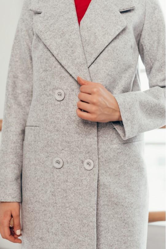 Пальто длинное серое с карманами листочка