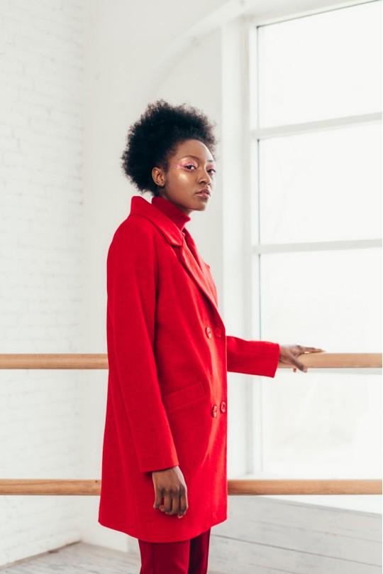 Пальто Красное укороченное
