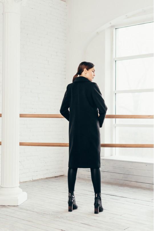 Пальто длинное черное карман листочка
