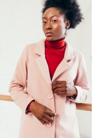Пальто длинное со шлицей пудра