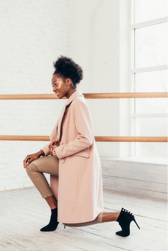 Пальто длинное двубортное со шлицей карман клапан