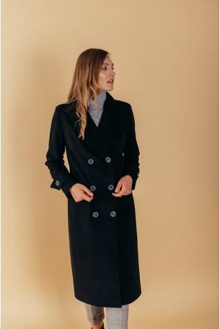 Пальто полуприталенного силуэта с шалевым воротником и патами на рукавах черное