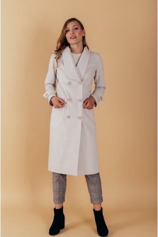 Пальто полуприталенного силуэта с шалевым воротником. С патами на рукавах светло-серое