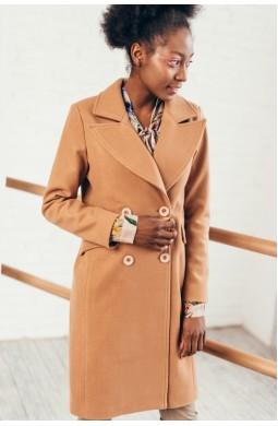 Пальто двубортное до клена со шлицей карманы клапан