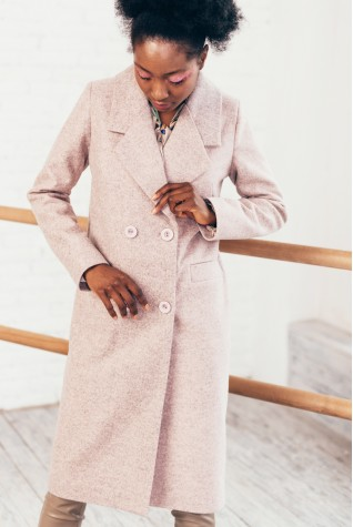 Пальто пудра меланж длинное двубортное