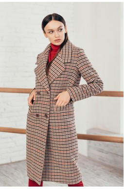 Длинное двубортное пальто с карманами в листочку клетка