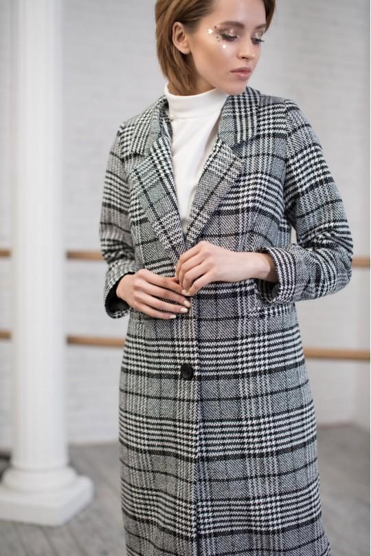 Пальто длинное со шлицей однобортное клетка