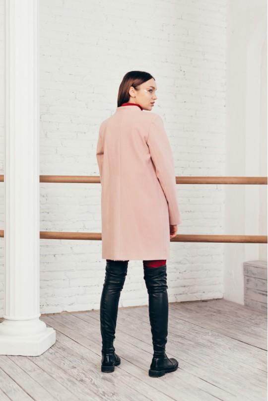 Пальто без воротника пудра