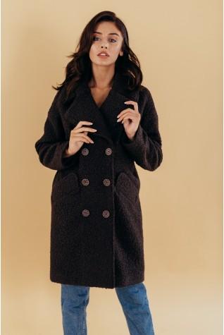 Пальто оверсайз двубортное букле темный шоколад