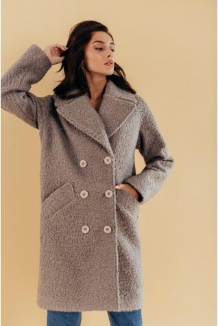 Пальто оверсайз двубортное букле серое