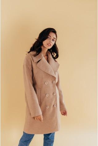 Пальто оверсайз двубортное шерсть