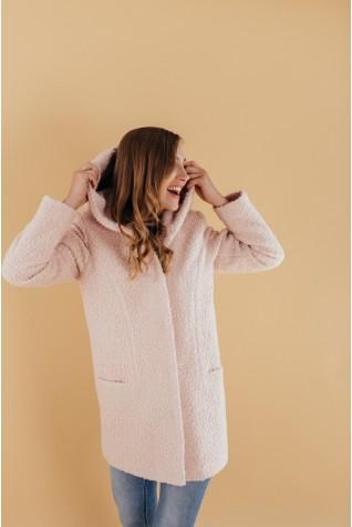 Пальто из букле с капюшоном
