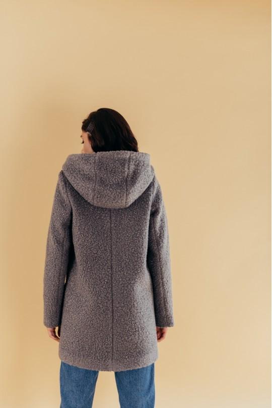 Пальто из букле с капюшоном графит