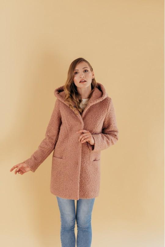 Пальто с капюшоном из букле