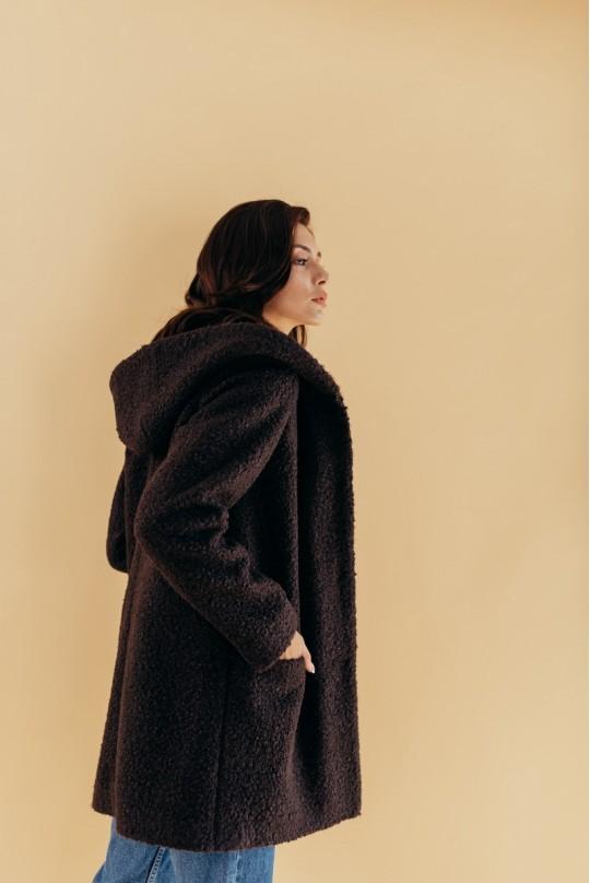 Пальто с капюшоном Valentir Темный шоколад