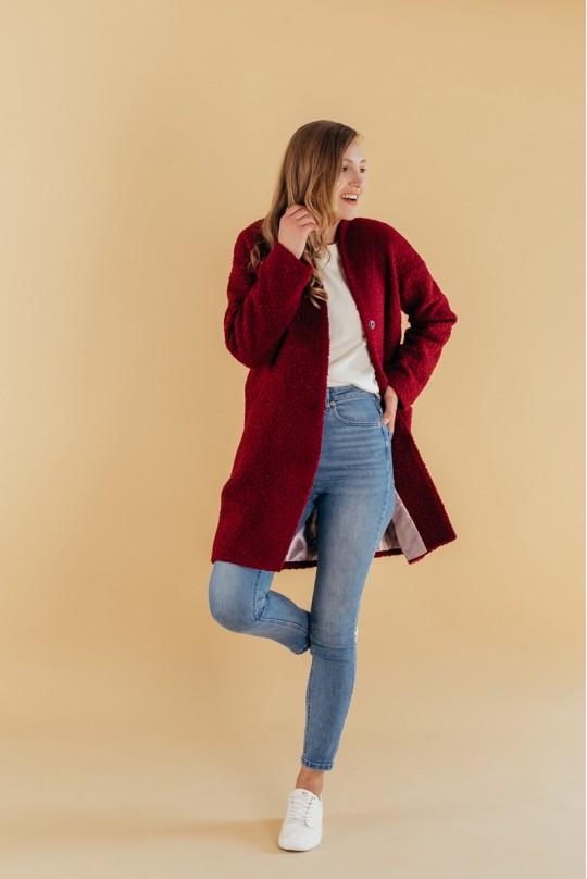 Пальто со спущенным плечом Valentir Марсала на кнопках