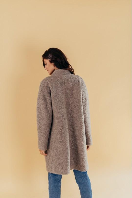 Пальто со спущенным плечом Valentir на кнопках Серое