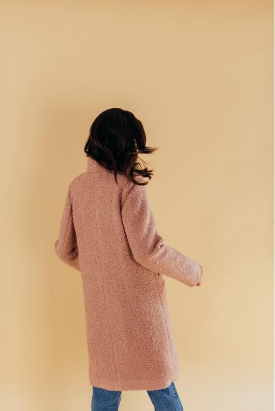Пальто из букле с воротником стойка