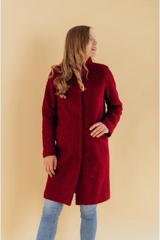 Пальто из букле с воротником стойка марсала