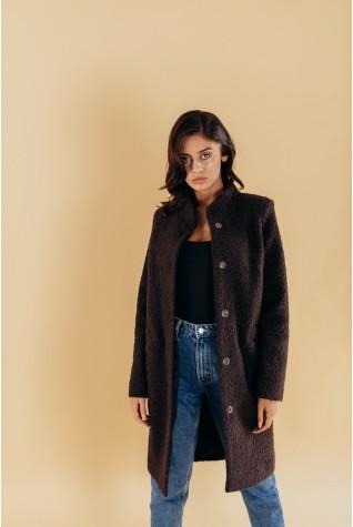 Пальто из букле с воротником стойка черное