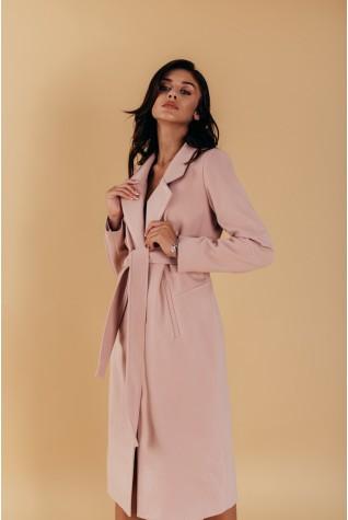 Пальто длинное прямого силуэта под пояс розовое