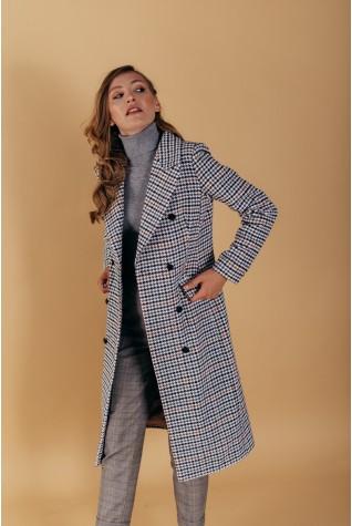 Пальто полуприталенного силуэта с английским воротником клетка
